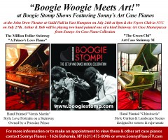 April 2016 Boogie Stomp Show with Boogie Kings Bob Baldori & Arthur Migliazza, East Hampton NY on Sonny's Art Case Pianos