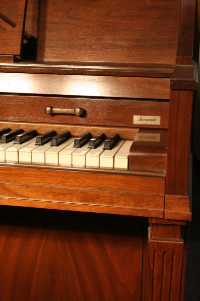 (SOLD)Baldwin Acrosonic Console Piano Walnut with Bird's Eye Maple Inlaid