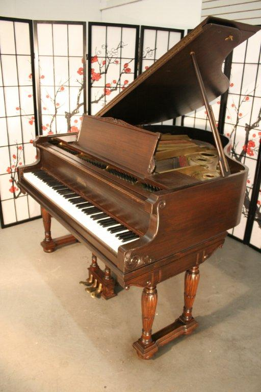 (SOLD) Art Case Mason Baby Grand, Rebuilt/Refin. Mahogany Double Legs