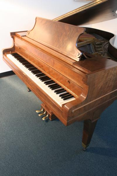 (SOLD) Horace Waters Circassian Walnut Baby Grand Piano Refinished/Rebuilt