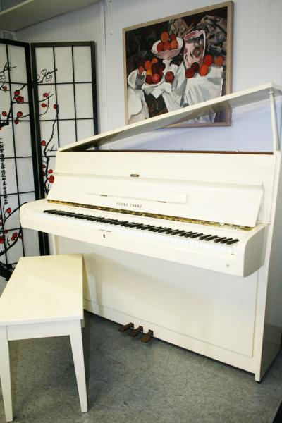 (SOLD) White Gloss Young Chang Upright Piano 1994