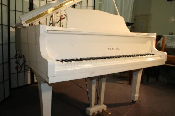 (SOLD) Yamaha G2 Grand Piano White Gloss 1981 5'8  Mint, Pristine, Showroom Condition