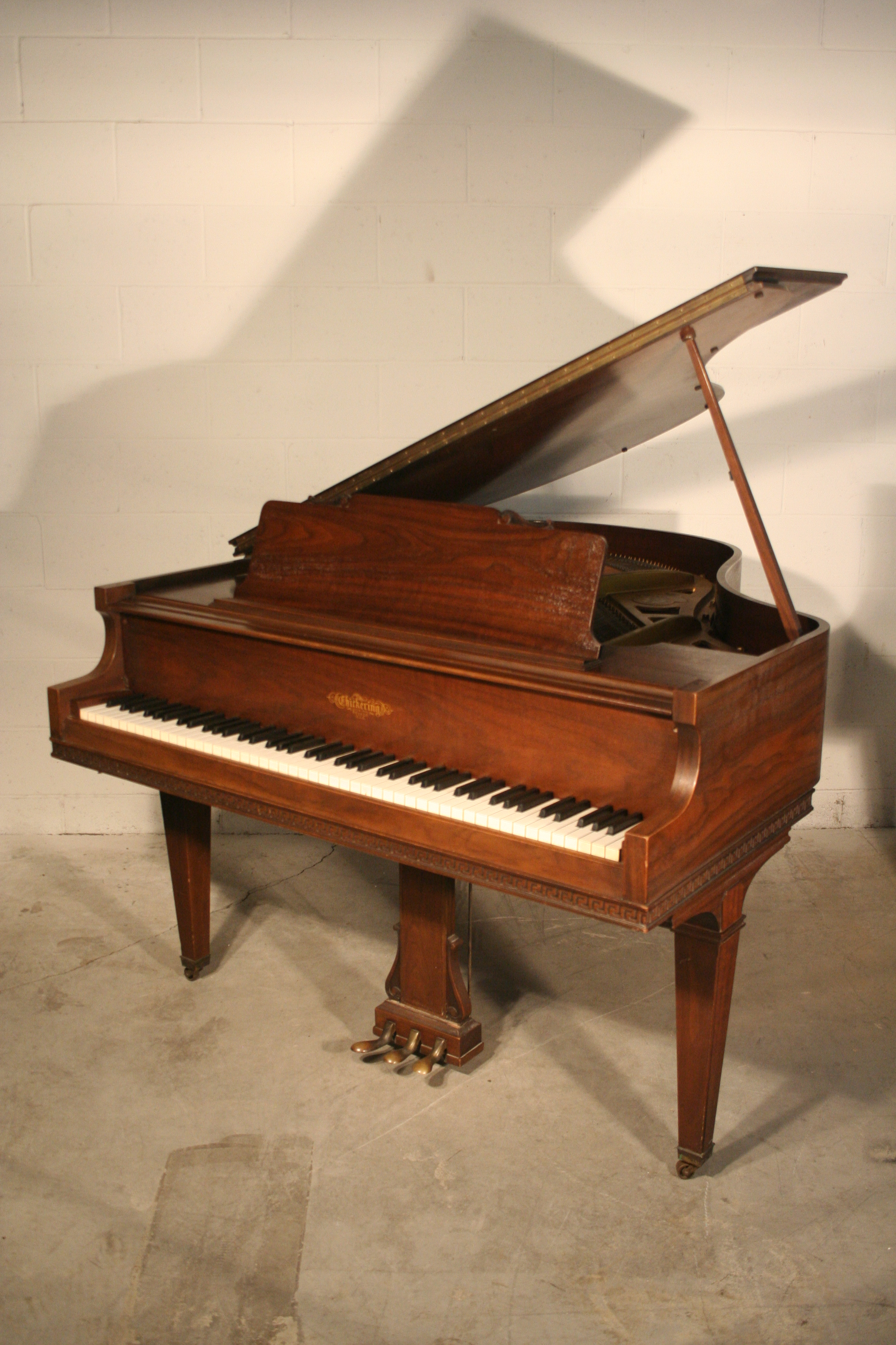 (SOLD) Chickering Baby Grand Piano, pretty walnut,  refurbished.