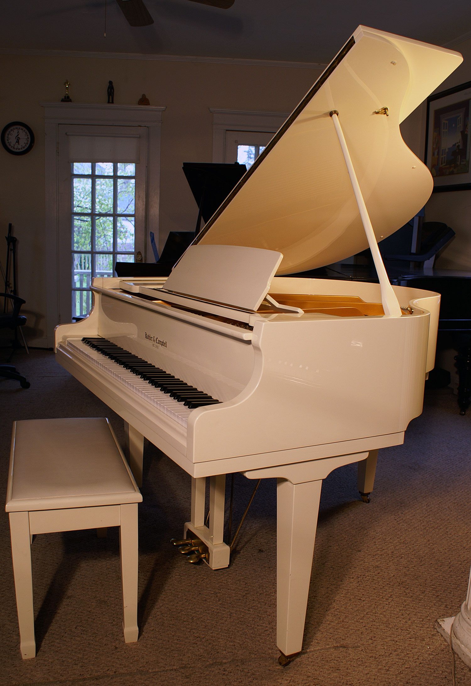 (SOLD) White Gloss Baby Grand Piano Kohler & Campbell, Mint 4'8