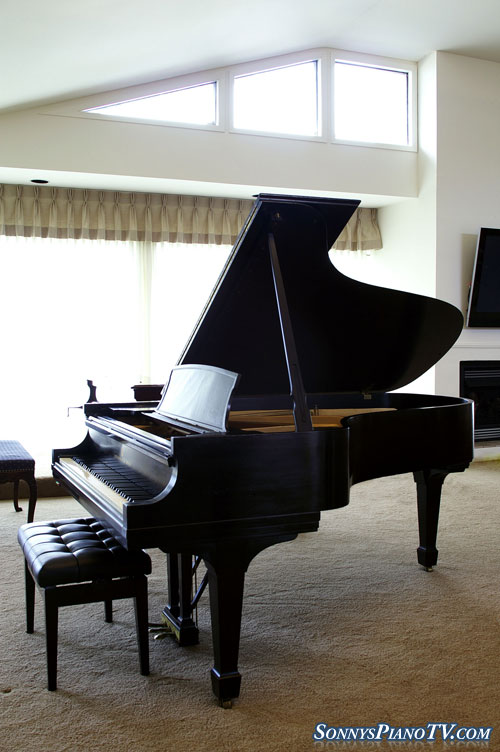 (SOLD Congratulations Our Savior's Lutheran Church) Steinway Grand Piano Model B 1962 Ebony New Steinway Hammers $27,500.(Listen To mp3)