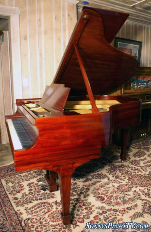 (SOLD)  Steinway Model M 1927 Refinished/Refurbished Red Mahogany