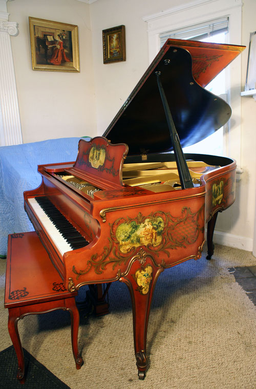 (SOLD) Baby Grand Piano Art Case Hand Painted Weber Sonny plays soulful rendition of