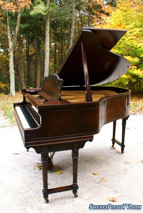 (SOLD Congratulations & Thanks Tina & Eleza) Art Case Weber Baby Grand Piano Mahogany with Walnut Inlaid
