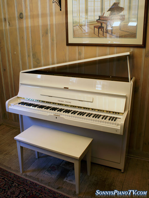 (SOLD Congratulations Cortes Family))White Gloss Piano Young Chang Upright 44