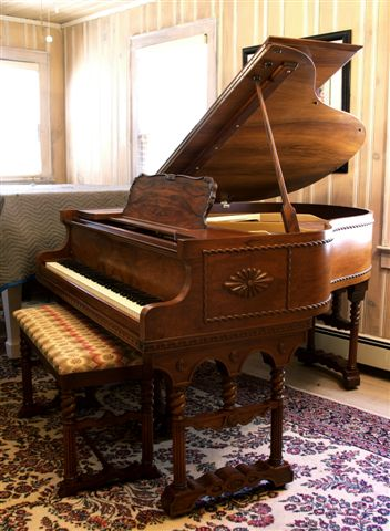 (SOLD Congratulations Mike & Family) Master Piece Art Case VOSE  Baby Grand Piano  Mediterranean Style-Collector's Item!