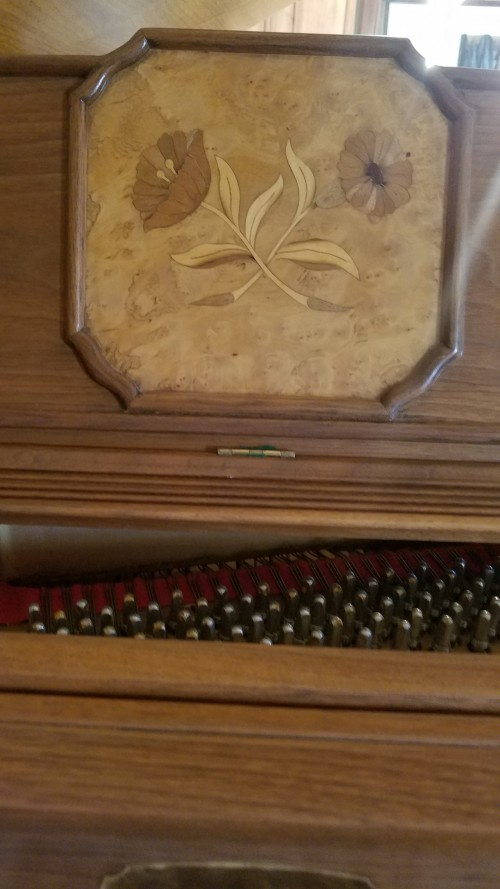 Art Case George Steck, Walnut with Birds Eye Maple Floral Inlays Rebuilt/Refinished $2950..