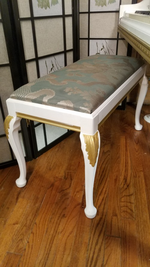 (SOLD) Knabe White Art Case Baby Grand with Gold Trim & Highlights Custom $4900.
