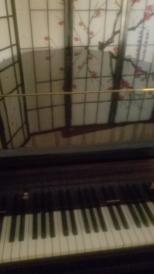 Art Case Baby Grand Piano w/ Queen Anne Legs Chocolate Mahogany Gloss   Baby Grand