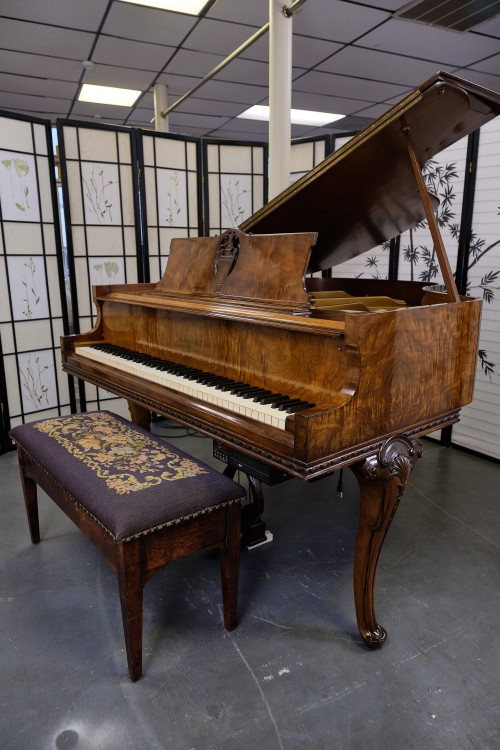 (SOLD) Art Case Knabe Baby Grand Player Piano, Hand Carved, Queen Anne Style, Beautiful Burled Walnut