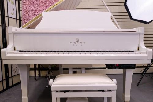 (SOLD) White Gloss Story & Clark Baby Grand CD Player Piano