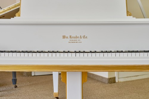 Art Case Knabe Baby Grand Piano, just refinished white with gold trim and accents. excellent. $5950.