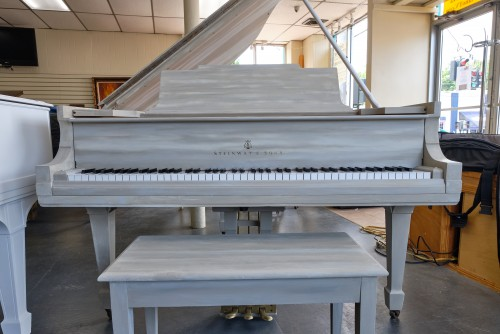 White Driftwood Steinway M, Totally Rebuilt & contemporary shabby chic, chalk finish. Golden Age 1919 $25,000.
