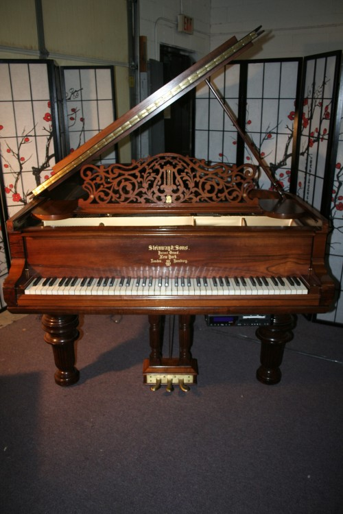 (SOLD)Art Case Steinway Grand Piano Model B Victorian Style Rosewood 1889 Reblt/Refinished (2001)w PianoDisc Player System