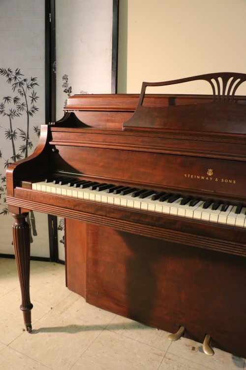 Art Case Steinway Upright Piano. 1963 Mahogany Model 100 (SOLD)