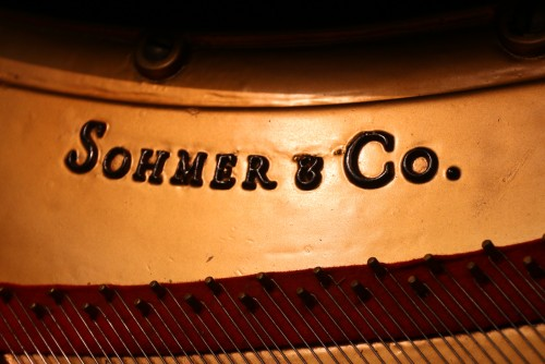 SOLD Art Case Hand Painted Sohmer Baby Grand Ebony Gloss 1963