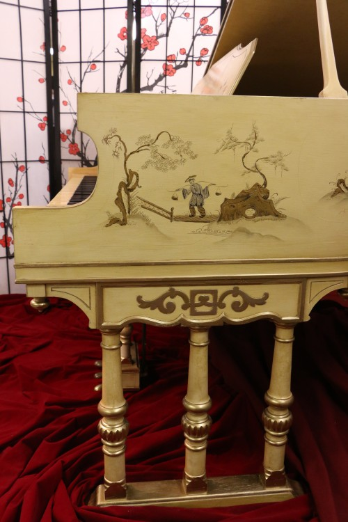 (SOLD) Luxury Piano-Chinoiserie Piano by Stroud  Luxury Art Case  Baby Grand  with  Hand Painted Landscape Scenes Restored