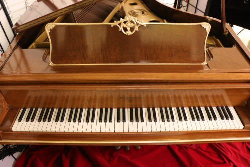 (SOLD-Congratulations Donna & Family) Knabe Piano Baby Grand King Louis XV  Art Case  Gorgeous Walnut Gold Trim