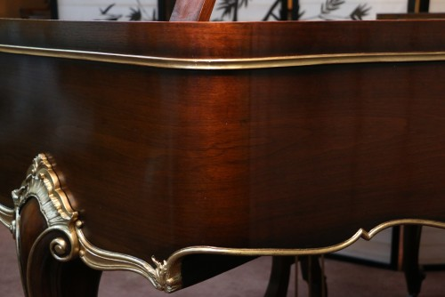 (SOLD) Art Case Sohmer Baby Grand Piano, Walnut with hand painted gold trim, 5'1