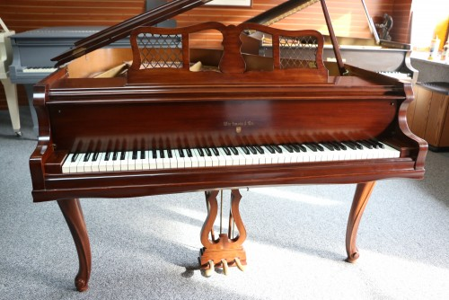 (SOLD) Art Case Knabe Baby Grand Chocolate Mahogany 1956 Refin/Reblt. Queen Anne Leg