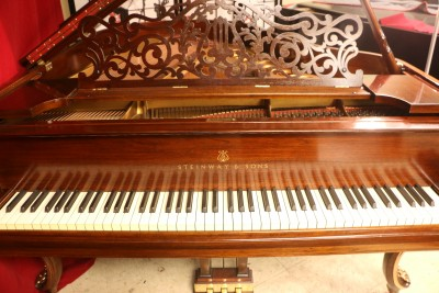 One-of-a-kind Art Case Steinway King Louis XV Model M Legs Hand Painted Gold, Real Ruby Gems, Belonged to Sid Caesar