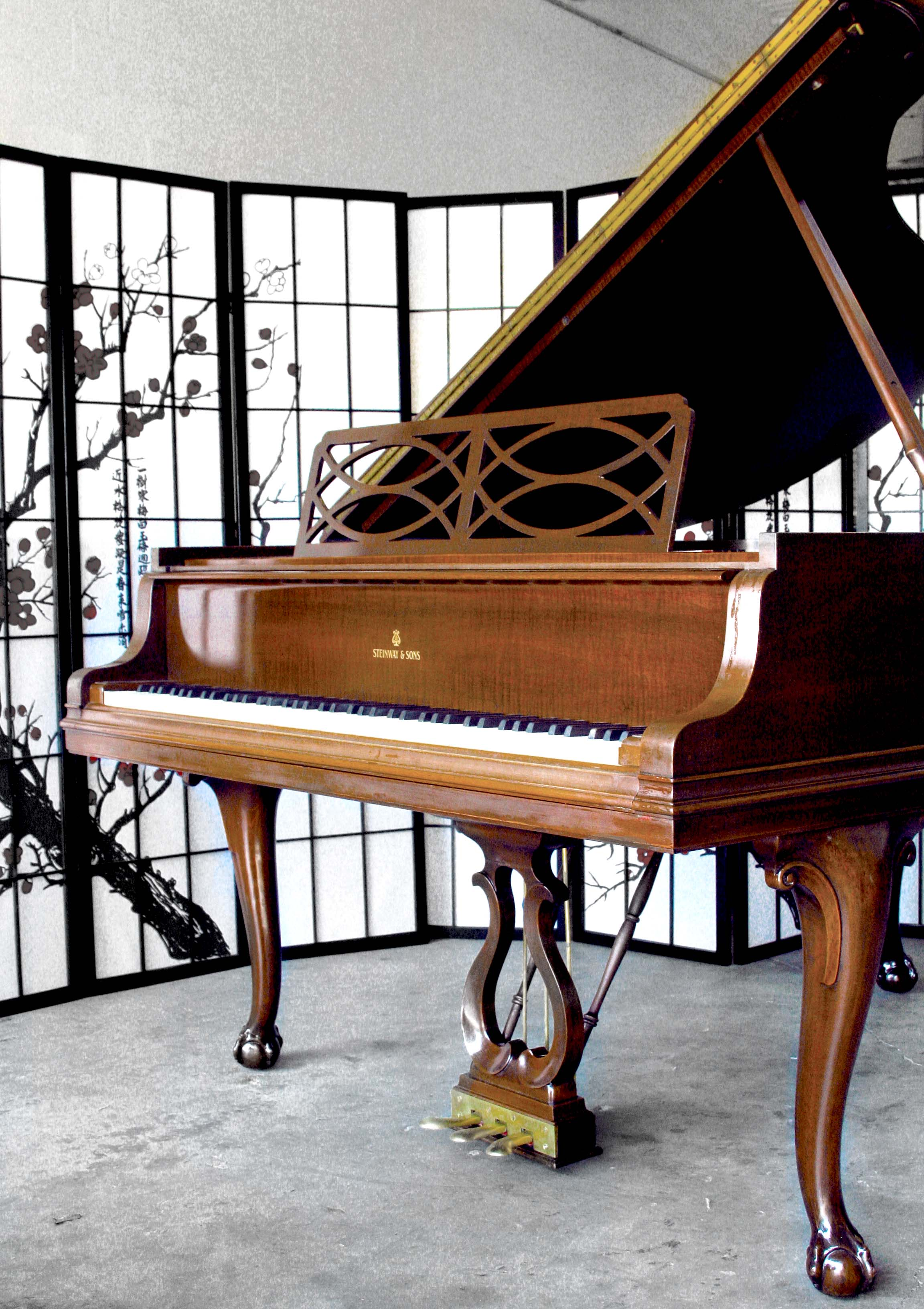 (SOLD)Chippendale Steinway Piano Model M 5'7