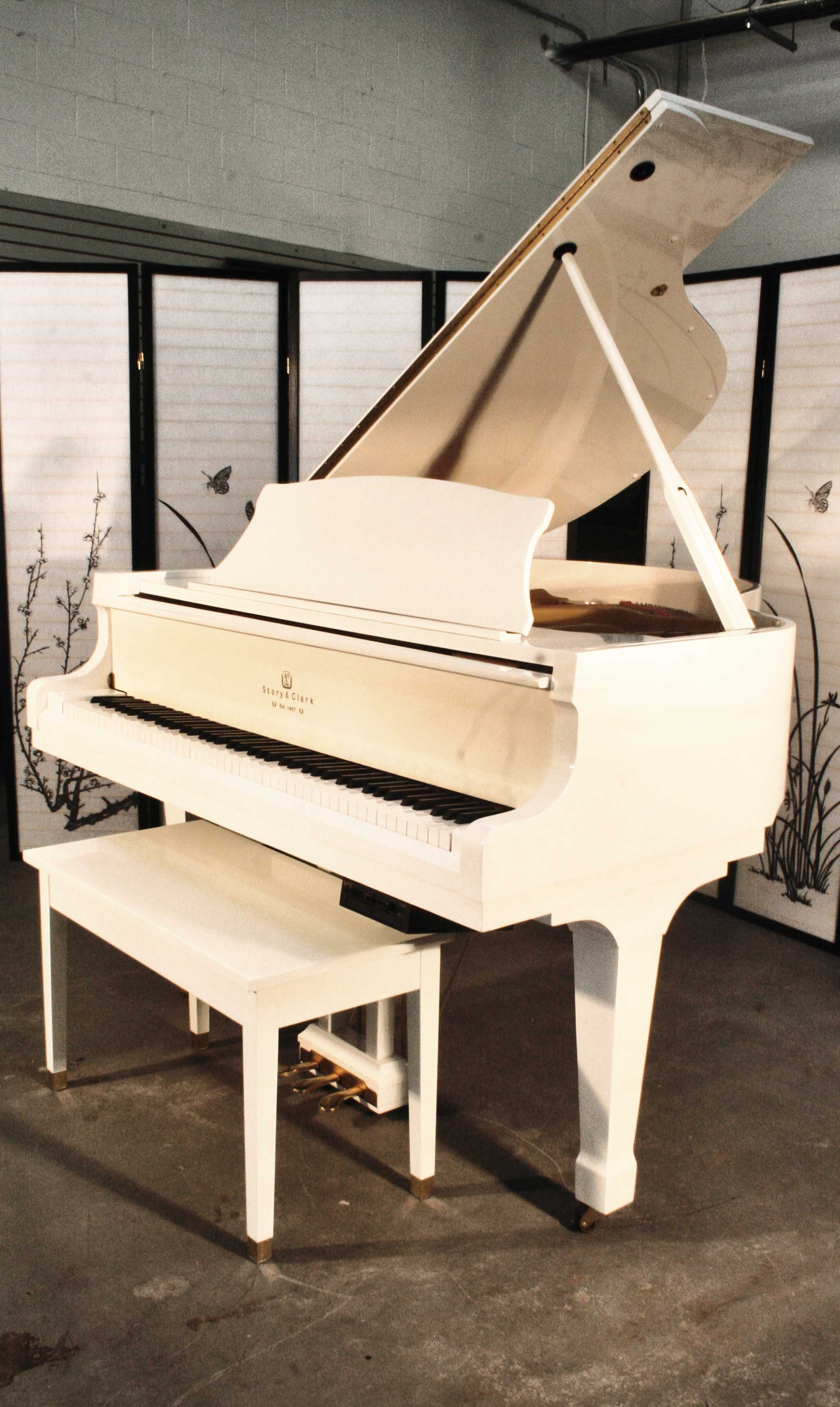 (SOLD Congratulatations Renata)  White Gloss Baby Grand Player Piano by Story & Clark, 2003, QRS System