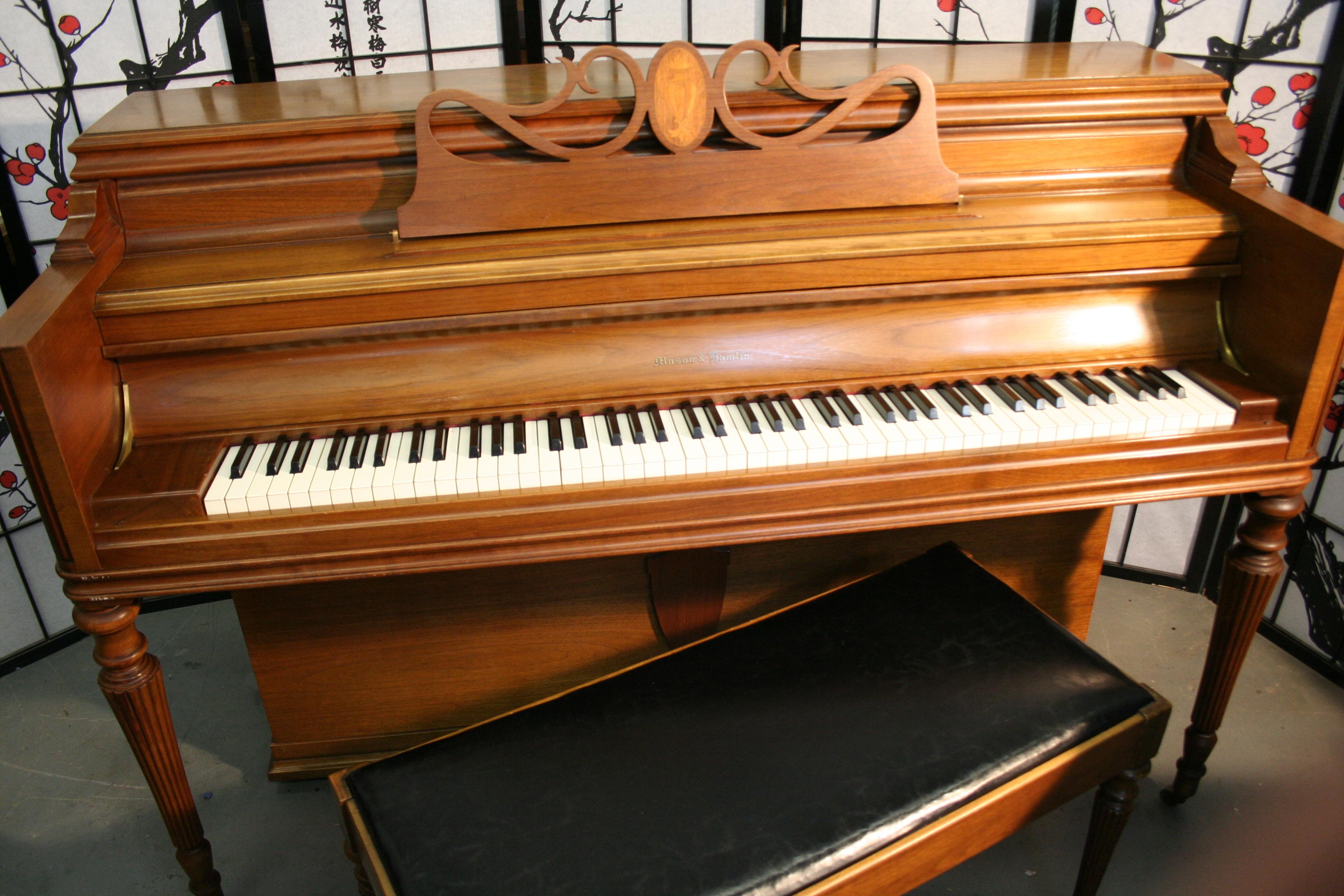 (SOLD) Mason & Hamlin Console Piano Walnut 1962