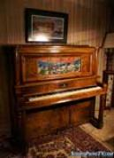 (SOLD) Gorgeous Art Case Janssen Circassian Walnut Upright Player Piano $3900.