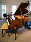 (SOLD) Art Case Baby Grand Piano Burled Walnut Kranich & Bach -