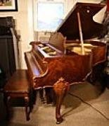 (SOLD) Art Case Piano $7500 Janssen Gorgeous Burled Walnut Baby Grand  Sonny Plays