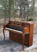 (SOLD) Art Case Sohmer Console Piano Anniversary Piano 1972