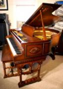 (SOLD)Art Case Baby Grand Piano  Burled Walnut  Hand Carved Vose 5' 1 Sonny Plays