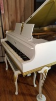 (SOLD) Knabe White Art Case Baby Grand with Gold Trim & Highlights Custom