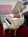 White Gloss Schumann Piano Art Case Queen Anne Style with Gold Trim $7500.