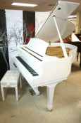 (SOLD) White Gloss Hallet & Davis Baby Grand Player Piano w/QRS CD Player System $7900.