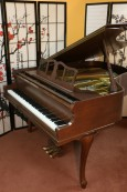 (SOLD) Art Case Knabe Baby Grand Piano, 1978 Excellent, Refinished Beautiful Chocolate Mahogany, Carved Legs