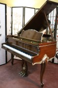 Art Case Sohmer Baby Grand Piano, Walnut with hand painted gold trim, 5'1
