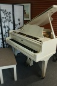 Custom White Gloss/Ivory Baby Grand Piano by Wurlitzer Contemporary Style $5950.