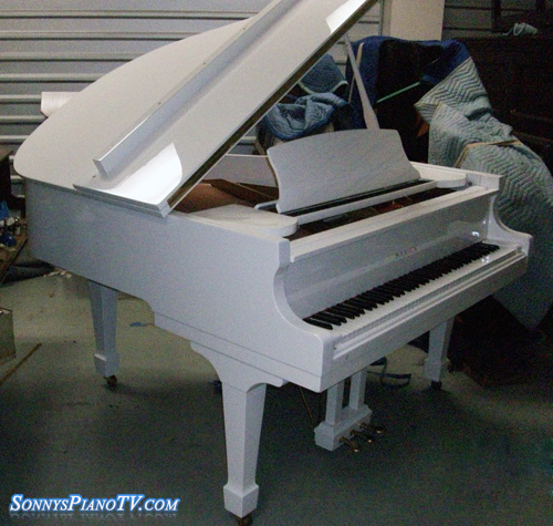 (Sold Congratulations Robert)White Gloss Piano Baby Grand Samick