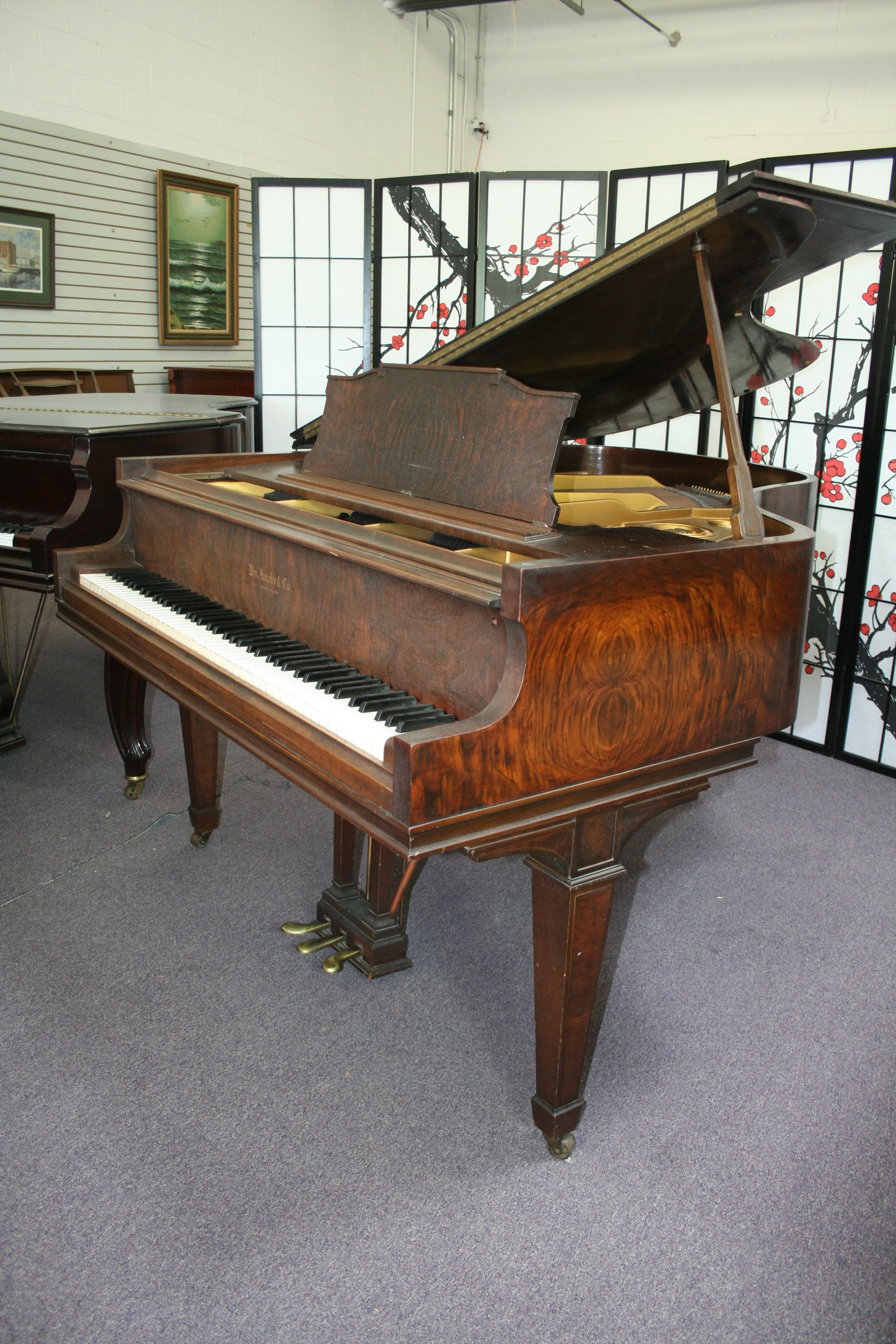 (SOLD) Knabe Grand Piano 5'3'  Unique Beautiful Walnut Grain