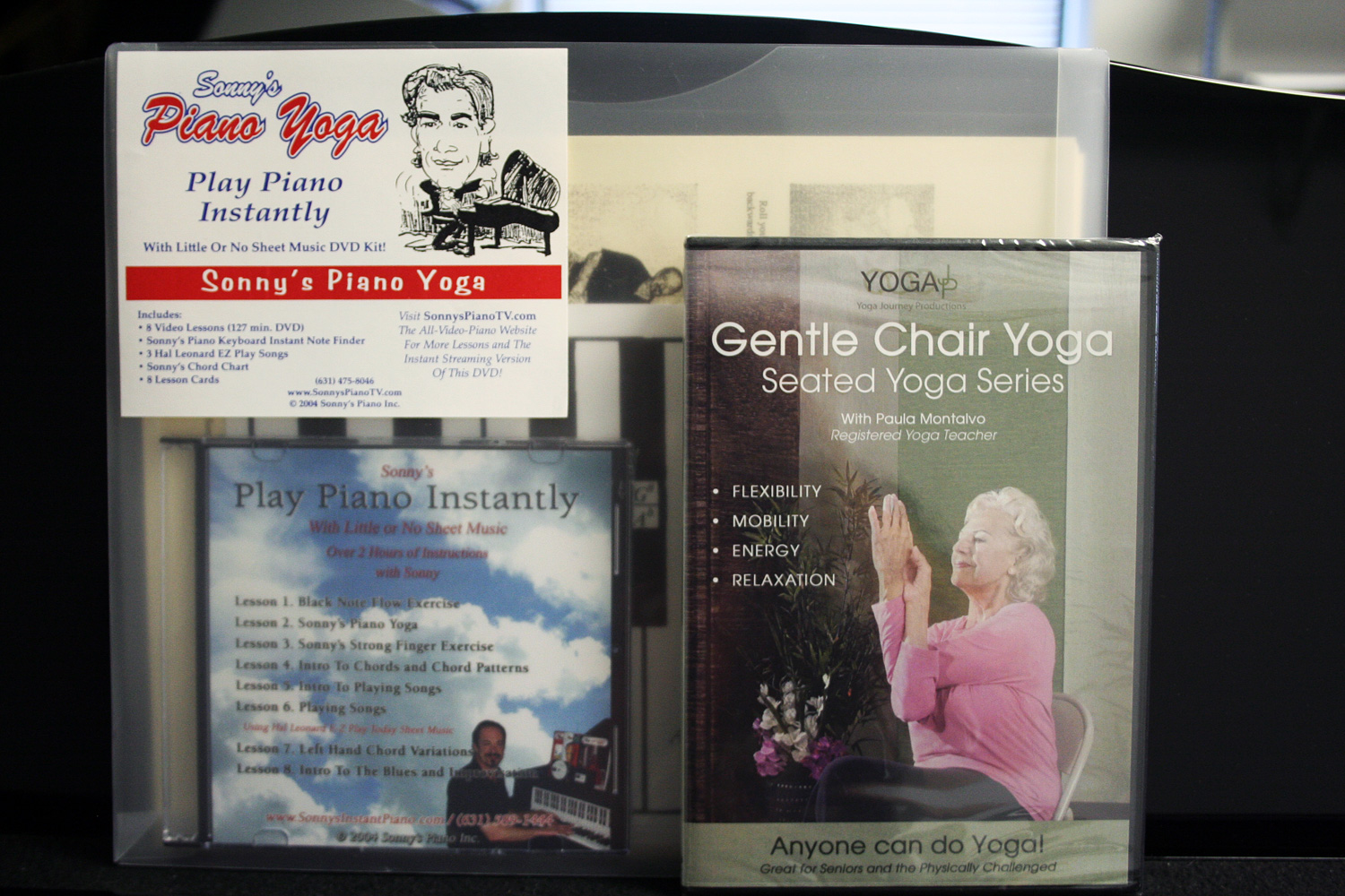 Piano Yoga Dvd Kit By Sonny And Chair Yoga Dvd With Paula Montalvo